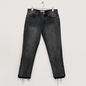 We the Free Black Gray Raw Hem Open Ankle Jeans